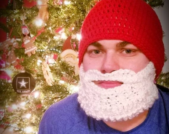 Santa Beard Hat, Santa Hat, Beard Hat Adult, Beard Hat for Kids, Beard Beanie Adult, Funny Gifts for Him, Funny Gifts for Men