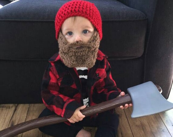 Lumberjack First Birthday, Lumberjack Nursery, Lumberjack Baby Shower, Wild One Birthday Boy, Baby Bear Outfit, Baby Beard Beanie Hat