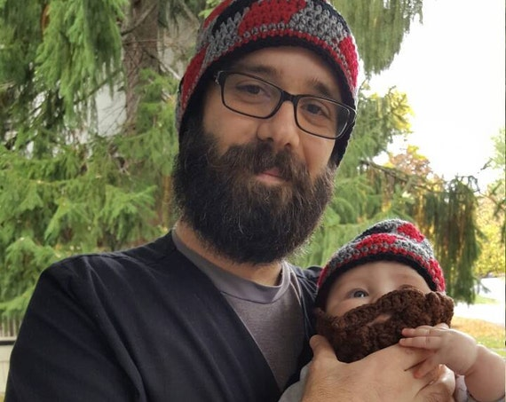 Plaid Father Son Matching Outfit, Bearded Dad Gifts, Father Son Matching Hats, Bearded Daddy, Father Baby Boy Matching, Papa Bear Baby Bear
