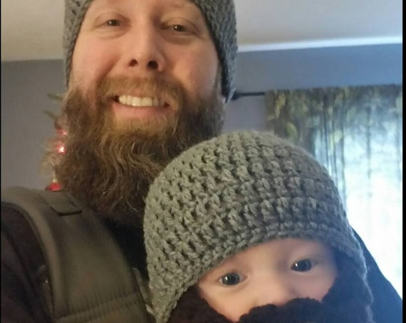 Father Son Matching Outfit Hats, Bearded Dad Gifts, Bearded Daddy, Father Baby Boy Matching, Papa Bear Baby Bear, Baby Boy Beard Hat Beanie,