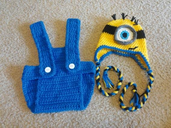 Minion Baby Costume Boy, Minion Baby Shower, Minion Baby Hat Boy, Minion Baby Gift, Minion First Birthday Outfit, Photo Prop, Newborn