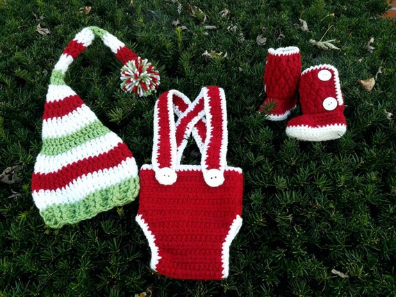 Baby Elf Costume, Baby Elf Hat and Shoes, Santa's Little Helper Outfit, Christmas Photo Props Baby, Christmas Photo Props Toddler