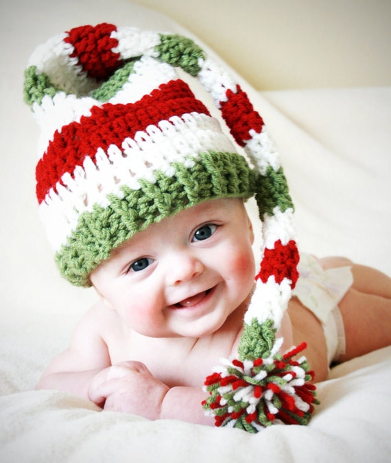 Christmas Baby Elf Hat Boy Girl Newborn Toddler Kids, Long Tail Elf Hat, Newborn Christmas Prop Outfit Photo, Striped Baby Hat, Santa Hat