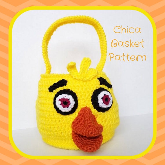 Chica Crochet Pattern, Chica Amigurumi Pattern, Five Nights at Freddys, FNAF Amigurumi Pattern, FNAF Crochet Pattern, Basket Crochet Pattern