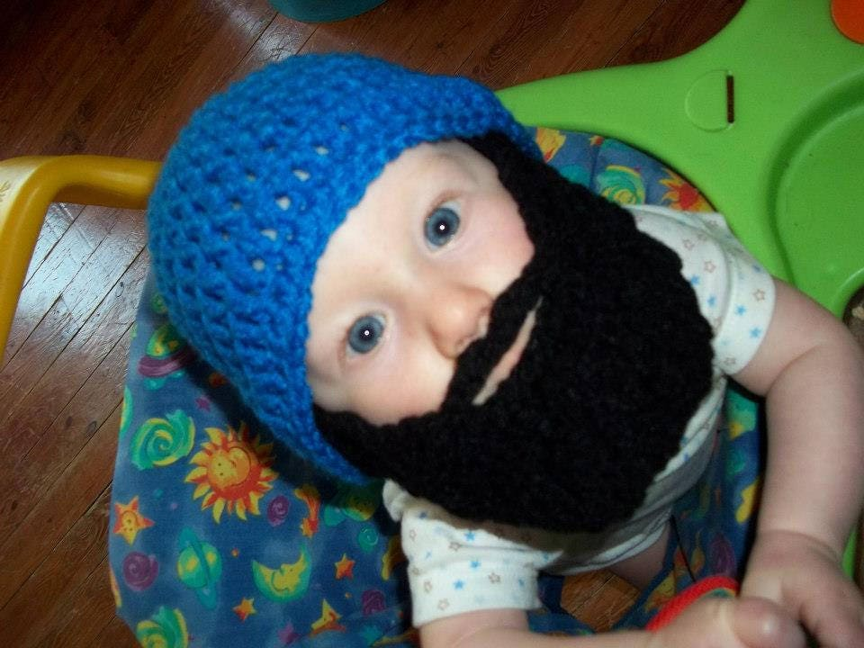 8b81f7175 Toddler Beard Hat, Baby Beard Hat, Beard Hats Children, Crochet ...