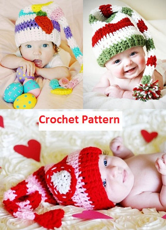 PDF Crochet Pattern - Striped Long Tail Elf Hat - 4 Patterns in 1 - All sizes Newborn to Adult - Intermediate - Photo Prop