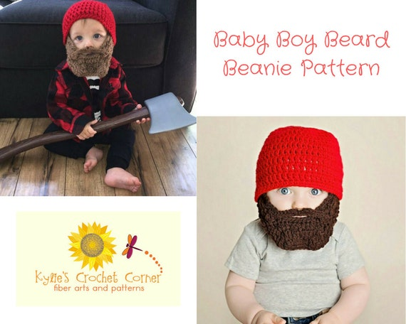 Baby Boy Lumberjack Crochet Pattern, Baby Beard Beanie Crochet Pattern, Baby Boy Beard Hat Crochet Pattern, Baby Beard Hat Crochet Pattern