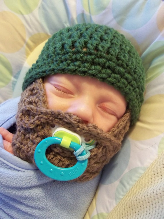 Baby Beard Beanie, Baby Beard Hat, Infant Beard Hat, Infant Beard Beanie, Toddler Beard Hat, Gray Hat With Beard, Lumberjack Toy, Christmas