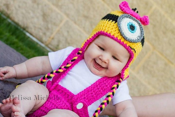 Minion Baby Costume Girl, Minion Baby Shower, Minion Baby Hat Girl, Minion Baby Gift, Minion First Birthday Outfit, Photo Prop, Newborn