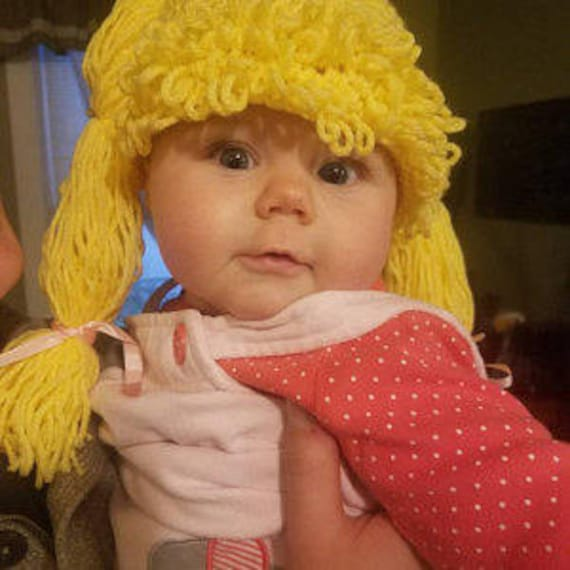 Cabbage Patch Wig Costume Hat Kids, Cabbage Patch Baby Hat Wig Costume Beanie, Cabbage Patch Baby Outfit, Halloween, Christmas Gift, Blonde