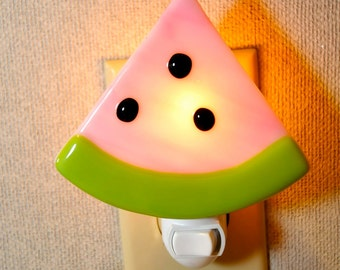 Handmade  Pink Watermelon with Seeds Fused Night Light.