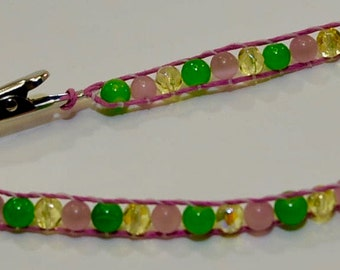 Handmade Roach clip, with Light Pink Hemp Cord  and Pink Flip Flop Charm at end.  Hippie Jewelry.