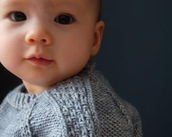 Textured sweater knitting pattern, top-down seamless knitting pattern, knitting pattern boy, (sizes 3 months to 8 years) - Sagano