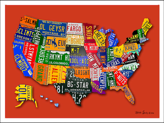 united states map license plates United States License Plate Map Etsy