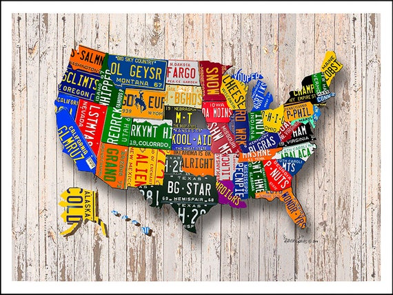 United States License Plate Map printed on a Gallery Wrapped | Etsy