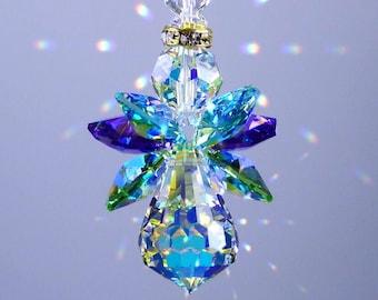 Swarovski Crystal Suncatcher Original *PEACOCK COLORS ANGEL* Made with Rare Vintage Aurora Borealis Body and Wings Lilli Heart Designs