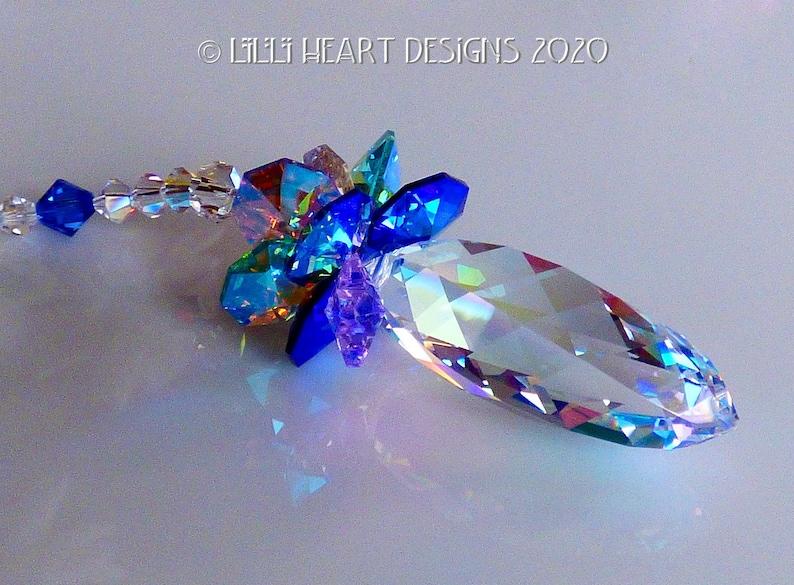 Swaroski Crystal Suncatcher 50mm RARE RETIRED AB Spiral Twist Northern Lights Rainbow Maker Home Decor or Car Charm Lilli Heart Designs
