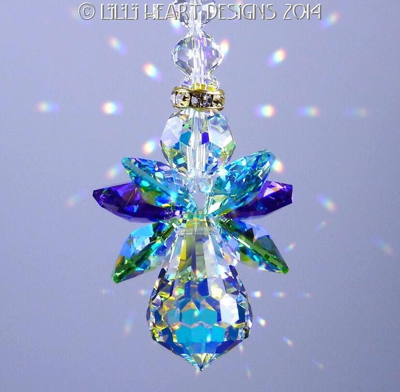 Swarovski Crystal Suncatcher Original PEACOCK COLORS ANGEL image 0