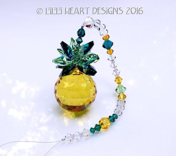 m//w Swarovsk Crystal 30mm Light Topaz Pineapple Suncatcher Lilli Heart Designs