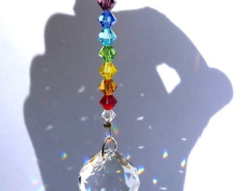 m/w Swarovski Crystal 20mm Best Round Ball Suncatcher with Chakra Color Beads by Lilli Heart Designs