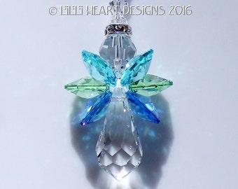 m/w Swarovski Crystal *Ocean Colors* Guardian Angel Car Charm SunCatcher Rainbow Maker Lilli Heart Designs