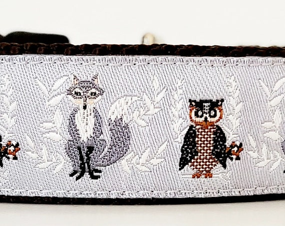 The Fox and the Owl - Dog Collar / Handmade / Adjustable / Pet Accessories / Pet Lovers
