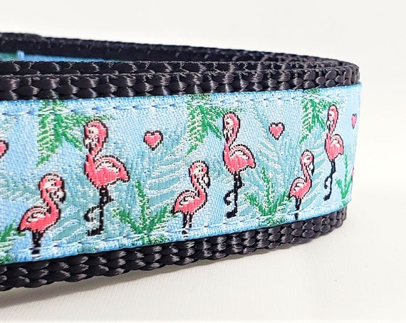 Pink Flamingos Dog Collar / Adjustable / Large Dog Collar / Pink Flamingos / Palm Trees / Dog Collars / Pet Lover / Miami / Tropical