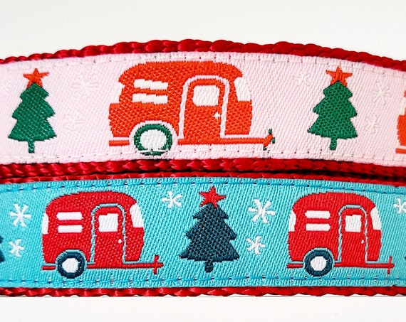 Holiday Happy Camper -  Dog Collar / Small Dog Collar / Teacup / Puppy / Christmas / Handmade / Adjustable / Airstream / RV / Trailer