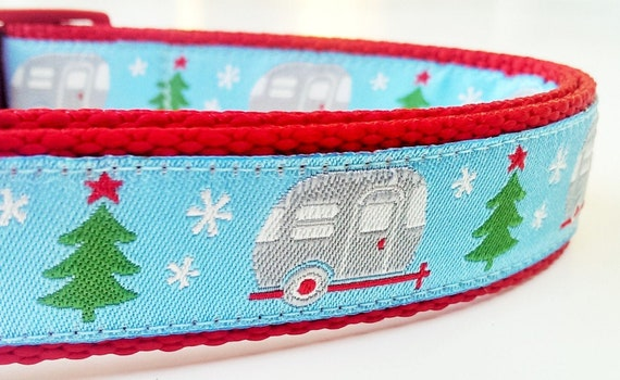 Happy Camper Winter Edition - Dog Collar / Pet Accessories / Christmas / Holiday / Camping / Airstream / Large Dog Collar / RV / Trailer