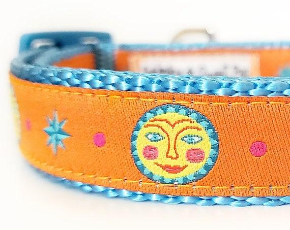 Celestial Canine Dog Collar / Adjustable / Small Dog Collar / Teacup / Dog Collars / Sun / Celestial / Sunshine / Orange / Puppy Dog Collar