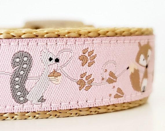 Woodland Friends Dog Collar / Handmade / Adjustable / Dog Collar / Forest / Fox / Woodland / Squirrel / Deer / Raccoon / Small Dog Collar