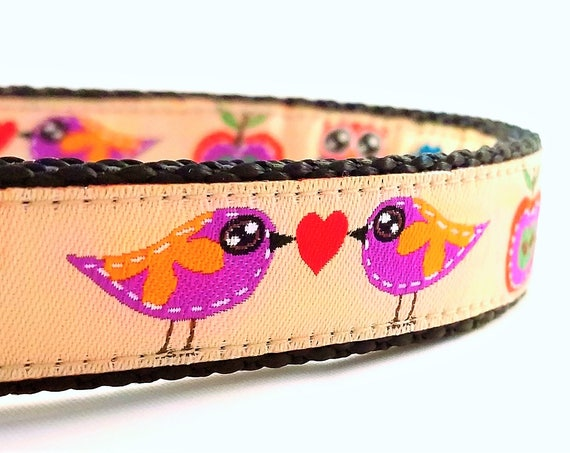 Lovebirds Dog Collar / Adjustable / Small Dog Collar / Large Dog Collar / Birds / Owls / Apples / Woodland / Dog Collars