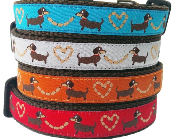 Longback Love Dog Collar / Dachshund Dog Collar / Adjustable / Dachshund Collar / Weiner Dog / Small Dog Collar / Dog Collar