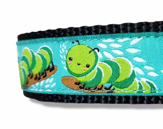 Happy Little Inchworm - Dog Collar / Adjustable / Inchworm / Large Dog Collar / Woodland / Dog Collars / Bug / Lovebug