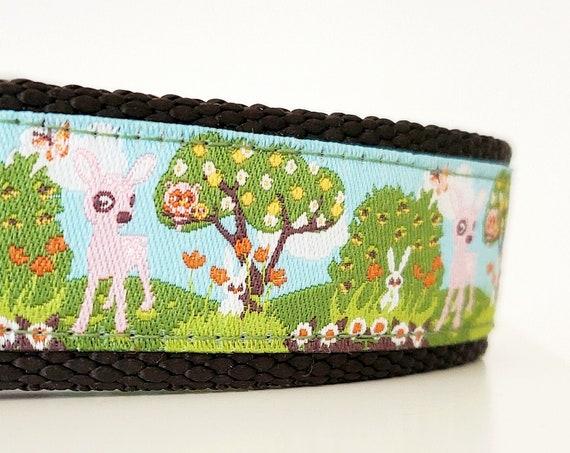 Magical Forest - Dog Collar / Woodland / Adjustable / Deer / Rabbit / Forest / Creatures / Flowers / Large Dog Collar / Dog Collars
