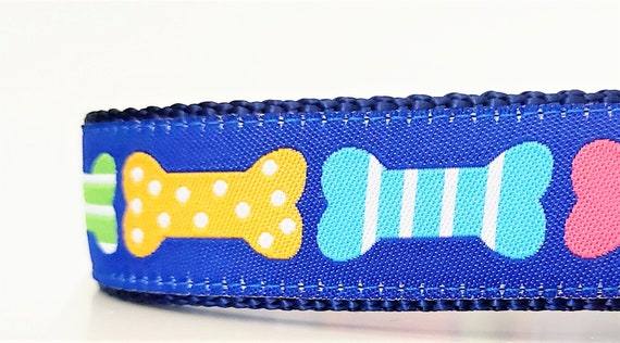 Colorful Dog Bones - Dog Collar / Adjustable / Large Dog Collar / Dog Collars / Dog Bones / Colorful / Big Dog Collars / Dog Collars