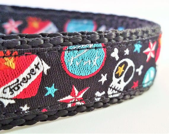 Punk Rock Dog - Dog Collar / Adjustable /  Tattoo / Skulls / Handmade / Hearts / Small Dog Collar / Teacup Dog Collar / Mini Dog Collar
