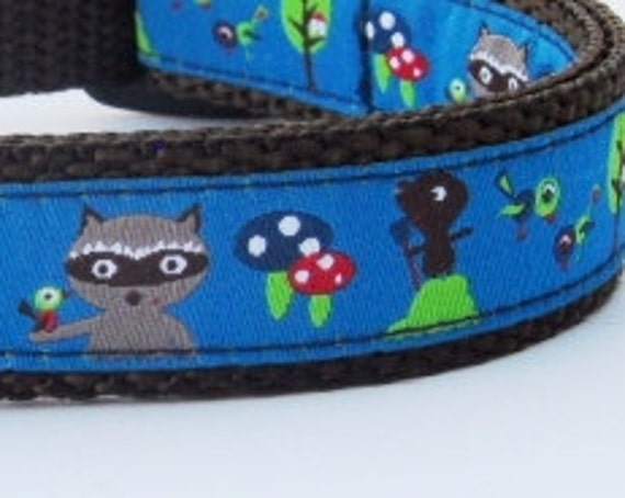 Into the Woods Dog Collar / Handmade / Raccoon / Mushrooms / Small Dog Collar / Buckle / Toadstool / Woodland / Cute Dog Collar