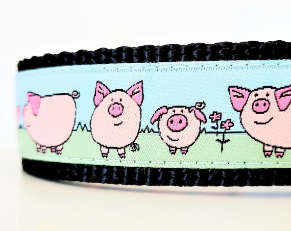 Little Pig - Dog Collar / Adjustable / Large Dog Collar / Pig / Piggie / Hog / Dog Collar / Pet Collar / Pet Accessories