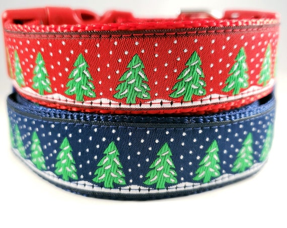 Snowy Forest - Dog Collar / Adjustable / Christmas / Trees / Forest / Large Dog Collar / Holiday / Gift Idea / Dog Lover