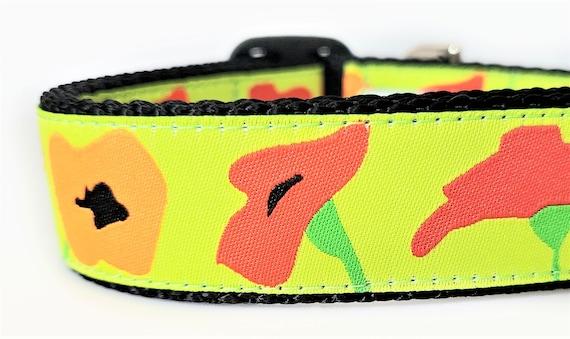 Poppies Dog Collar / Adjustable / Large Dog Collar / Poppies / Dog Collars / Flower Dog Collar / Colorful / Modern