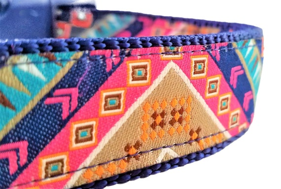 Hippie Hound Dog Collar / Boho / Bohemian / Large Dog Collar / Ethnic / Primitive / Eclectic / Adjustable / Geometric / Bunting / Nomad