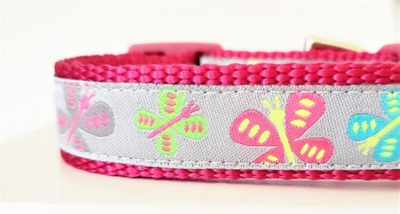 Little Butterflies Dog Collar / Small Dog Collar / Butterflies / Dog Collar / Neon / Pink / Pet Collar / Girl Dog Collar / Butterfly