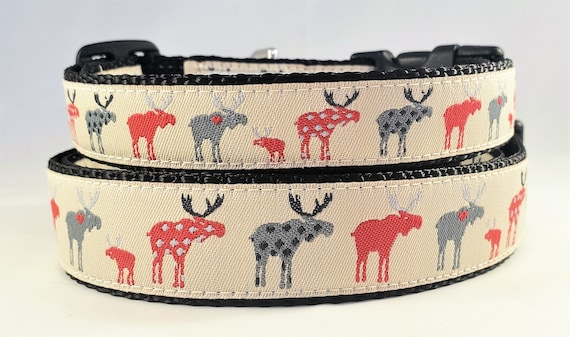 Moose Dog Collar - Adjustable, Handmade, Moose, Spotted Moose, Deer, Woodland, Small Dog Collar, Christmas, Holiday