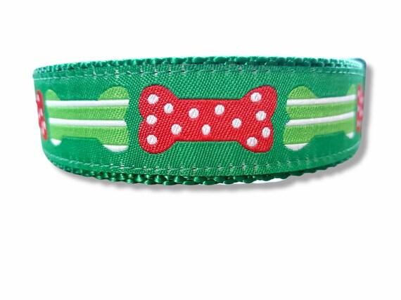 Holiday Dog Bones - Dog Collar / Adjustable / Christmas / Dog Bones / Large Dog Collar / Santa / Dog Collars