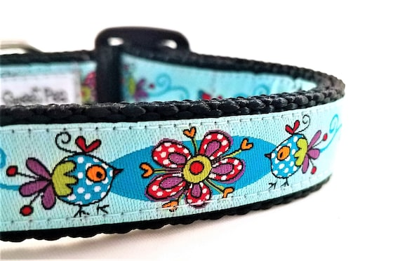 Birds of a Feather - Dog Collar / Adjustable / Large Dog Collar / Small Dog Collar / Birds / Flowers / Feathers / Dog Lover / Gift Idea
