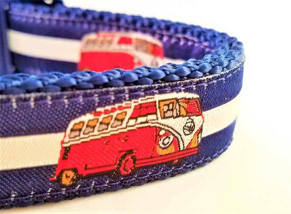 Road Trip - Dog Collar, Handmade, Camping, Adjustable, RV, VW, Volkswagen Camper Van, Dogs, Summer, Eurovan, Westafalia