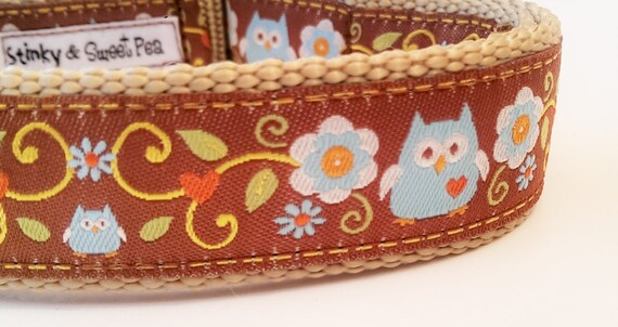 Forest Owl - Dog Collar / Pet Accessories / Handmade / Adjustable