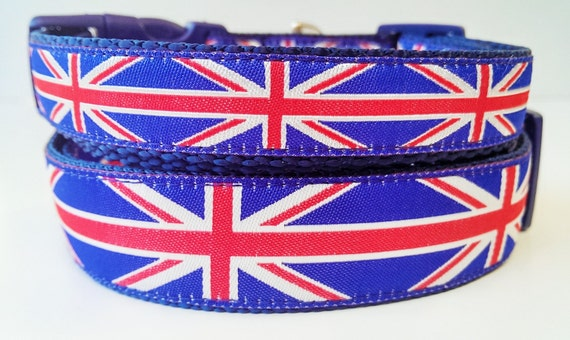 Union Jack - Dog Collar / Pet Accessories / Handmade / Adjustable / Dog Collar / Large Dog Collar / London / British / Small Dog Collar