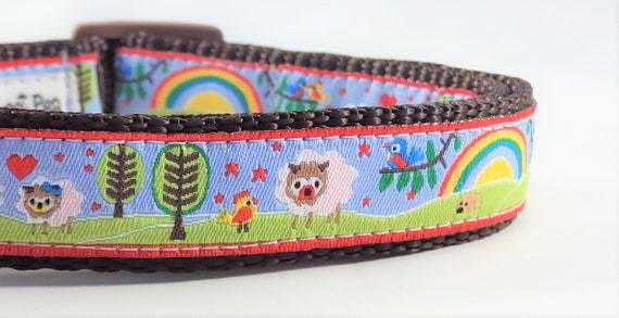 Rainbow of Love Dog Collar / Adjustable / Sheep / Chickens / Farms / Rainbows / Birds / Small Dog Collar / Large Dog Collar / Hedgehogs